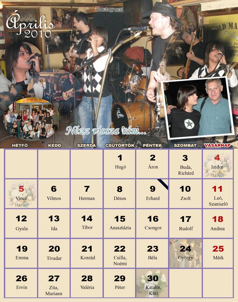 2010 április naptár Naptárak 2010 április naptár