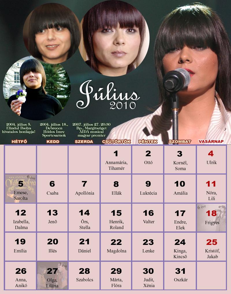 2010 július naptár Naptárak 2010 július naptár